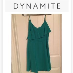 Green dress with gold straps - Dynamite